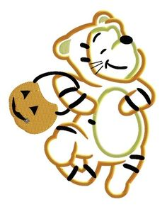P00h Bear as Tiger Trick or Treat Machine Applique Embroidery Design