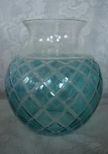Collectible Aqua / Lt.Turquoise Stained Blown Glass Cut-to-Clear Vase