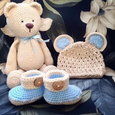 Crochet Teddy Bear Crochet Baby Boy Set Crochet by ThreadToToe