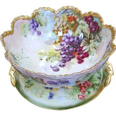 Fresh from a great Texas estate is this early Haviland France hand painted huge punch bowl with footed base.  This impressive piece measures about 7