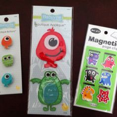 Look at these great monster finds! Magnetic bookmarks, some buttons and an iron-on appliqué ...
