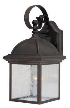 One Light Outdoor Wall Lantern, Textured Rust Patina Finish On Cast  Aluminum With Clear Seeded Glass Panels