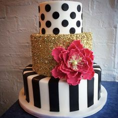 Black, White, Pink, and Gold Cake