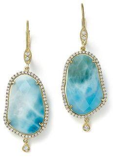 cb936f3ca6f Meira T 14K Yellow Gold Larimar Drop Earrings with Diamonds