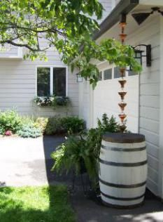 Slide down my rain barrel into my cellar door... Use rain chains with a rain barrel. What are the benefits of rain chains?