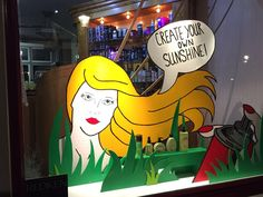 Lightenstein inspired window display at hairsalon. Styled and created by Rich Art Design. Special thanks to our intern Eef van der Veer. She made the decorations al by herself. Great job!