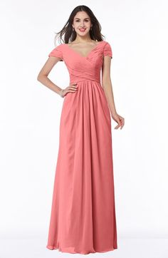 Orchid Glamorous A-line Short Sleeve Floor Length Ruching Plus Size Bridesmaid Dresses