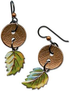 Leaf Textured TierraCast buttons act as connectors in New Leaf Earrings