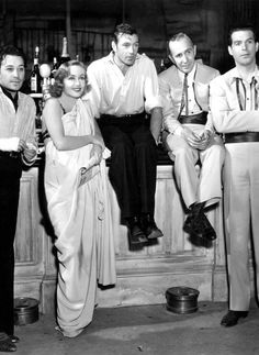 Old Hollywood George Raft, Carole Lombard, Gary Cooper, unknown and Fred McMurray
