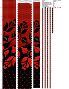 Red and black rose pattern Bead Crochet Patterns, Bead Crochet Rope, Beading Patterns, Beading Tutorials, Beaded Crochet, Crochet Beaded Bracelets, Bead Loom Bracelets, Beaded Bracelet Patterns, Bead Loom Designs