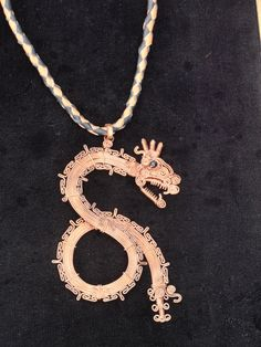 Copper Wire Wrap Mayan Serpent with Obsidian Eye
