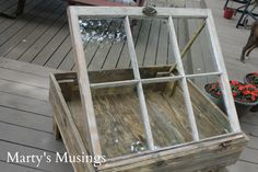 How to Make a Window Table from Marty's Musings. Beautiful use turning old window into coffee table.
