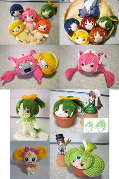 Smile Precure crocheted dolls
