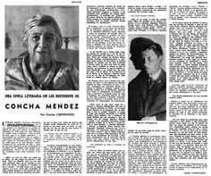 Una época literaria en los recuerdos de Concha Méndez, escritora, impresora y viuda de Manuel Altolaguirre. Artículo de Concha Castroviejo apararecido en  ABC (1/10/1970). Fuente: BIblioteca Virtual de la Provincia de Málaga.