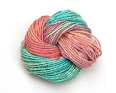 Coral Pink  and Seafoam Green, hand dyed tatting thread / crochet cotton