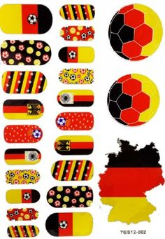 World cup game sticker Germany flag nail film with Germany Flag football temporary tattoos LuTech http://www.amazon.com/dp/B00IVCYABY/ref=cm_sw_r_pi_dp_z582ub0NHC366