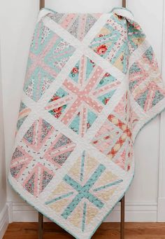 Pastel Union Jack Baby Quilt | Diary of a Quilter - a quilt blog Blue Accent Walls, Blue Accents, Amy Smart, How To Finish A Quilt, Liberty Fabric, Flower Show, Fun At Work, How To Make Pillows, Union Jack