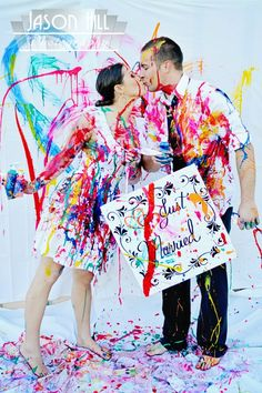 paint. newlywed photoshoot.