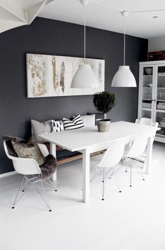 Gray walls in dining room, eclectic