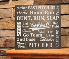Custom Wood Sign Softball Signs, Fastpitch Sign, 11x12  personalized with your childs name & number. wood by StoneEffectsMD, $25.00