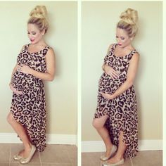 Pretty top knot and baby bump