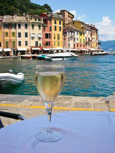 A glass of wine in Portofino, Italy - not a bad way to spend an afternoon!