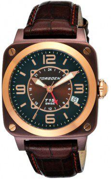 Torgoen T15501 ladies dual time watch with brown PVD case and dark green dial & rose goldtone highlights.