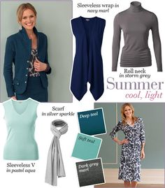 Summer outfits with teal, aqua, navy, and storm grey.  As the prior pinner points out, this website sells outfits by color tailored to your season! | Kettlewell kettlewellcolours.co.uk