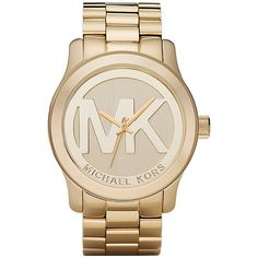 Michael Kors Logo Runway Goldtone Watch (€185) ❤ liked on Polyvore featuring jewelry, watches, accessories, bracelets, relojes, michael kors jewelry, goldtone jewelry, gold tone jewelry, gold colored jewelry and logo jewelry