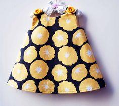 Morning Glory - Yellow Flower Girl Dress - Handmade -  Toddler Pattern Dress - Aline Dress - Birthday Party - 3M to 4T. $37.00, via Etsy.