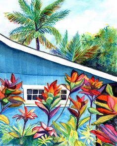 Hanalei Kauai Cottage 8x10 print from Kauai Hawaii blue house tropical Kauai art prints Hawaiian decor Hawaii art by kauaiartist on Etsy https://www.etsy.com/listing/487067941/hanalei-kauai-cottage-8x10-print-from