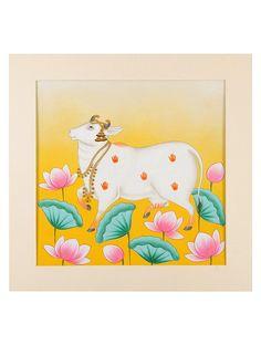 Kaamdhenu Amidst Lotus Artwork on Board Paper - in x in Poster Color Painting, Lotus Painting, Cow Painting, Fabric Painting, Painting Tips, Watercolor Painting, Pichwai Paintings, Indian Art Paintings, Madhubani Art