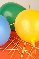 Bible Object Lesson: God's annointing & protection. OR: teach self-control by showing children that if you force a pin into a balloon it pops, but if you work slowly and concentrate it wont break!
