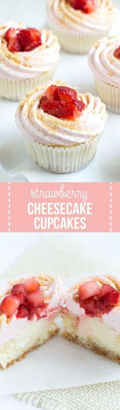 Vanilla cupcakes are stuffed with cream cheese filling and topped with strawberry buttercream and fresh strawberries to create Strawberry Cheesecake Cupcakes! #strawberry #cheesecake #cupcakes #recipe #cupcakerecipe