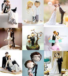 ideias e modelos diferentes de topo de bolo para casamentos.