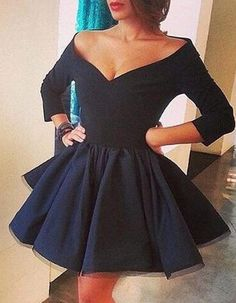 06ad8ced54f Vintage Off-the-shoulder Three-quarters Sleeves Navy Short Satin Dress for  Homecoming. Атласные ПлатьяМилые ...