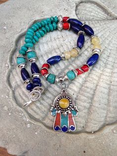 Gemstone Hamsa Necklace Tibetan Hamsa Lapis Coral by lyrisgems