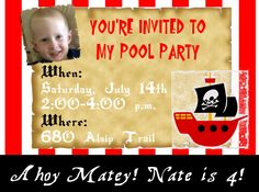 Pirate Theme Birthday (Little Buccaneer) Invitations in 4x6  $10.00 Made by aswiney01@yahoo.com