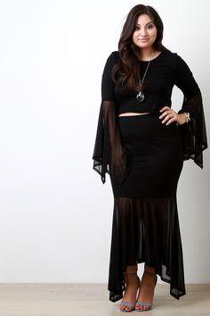 8b2e22a9e60 Contrast Asymmetrical Mesh Maxi Skirt. Bell Sleeve Crop TopBell SleevesMeshPlus  Size ...