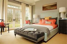 Love the colors used in this bedroom. Light Transitional Bedroom by Garrison Hullinger