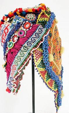 Woman's bridal mask ~    from the Hizara (descendents of Genghis Khan), of Afghanistan ~     Fabric, beads