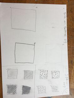 Hier moesten we van dik naar dun met lijnen, en om contrast te tekenen.