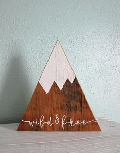 Wild and Free ~ Wood Mountains ~ Wooden Mountains ~ Snow Capped Mountains ~ Triangle Mountains ~ Mountain Shelf Decor ~ Woodland Nursery