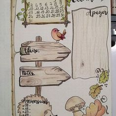 This is cute, Not a lot of room for information, but might make a great intro to the month look. 1ere page du mois d'octobre dans mon bullet journal.
