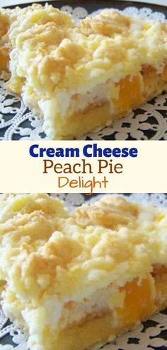 Cheese Peach Pie Delight INGREDIENTS: 1 package of white or yellow dry cake mix cup butter, room temperature 2 large eggs, divided 29 ounce can of peach slices, drained 8 ounces of Cream Cheese, room temperature cup of sugar 1 Cream Cheese Bars, Cream Cheese Desserts, Cream Cheese Recipes, Cream Cheeses, 13 Desserts, Delicious Desserts, Cake Mix Desserts, Summer Desserts, Cake Mix Recipes