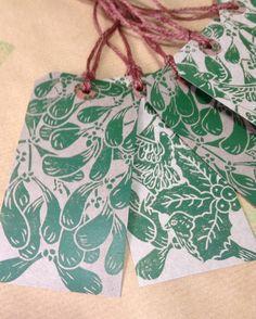 Set of 6 handprinted Christmas Gift Tags £4.60