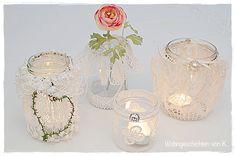 8 Windlichter und Vasen als Vintage-Hochzeitsdeko. http://de.dawanda.com/product/93927191-8-windlichter-hochzeitsdeko-vintage-shabby-spitze