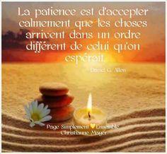"""""""La patience est d'accepter calmement que les choses arrivent dans un ordre différent de celui qu'on espérait."""" - [David G. Allen]"""