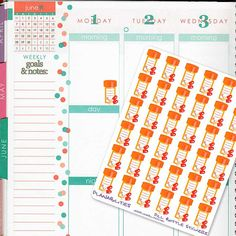 Medication Reminder Stickers for Paper Planners by Planabilities