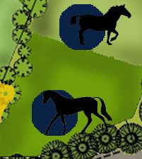Mavi noktalar; at ve sığırlar